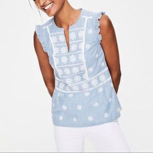 Boden Pinstriped Floral Embroidered Eyelet Top